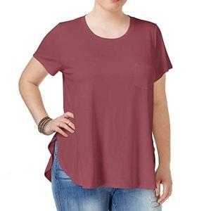 Celebrity Pink Trendy Plus Size V Neck T Shirt